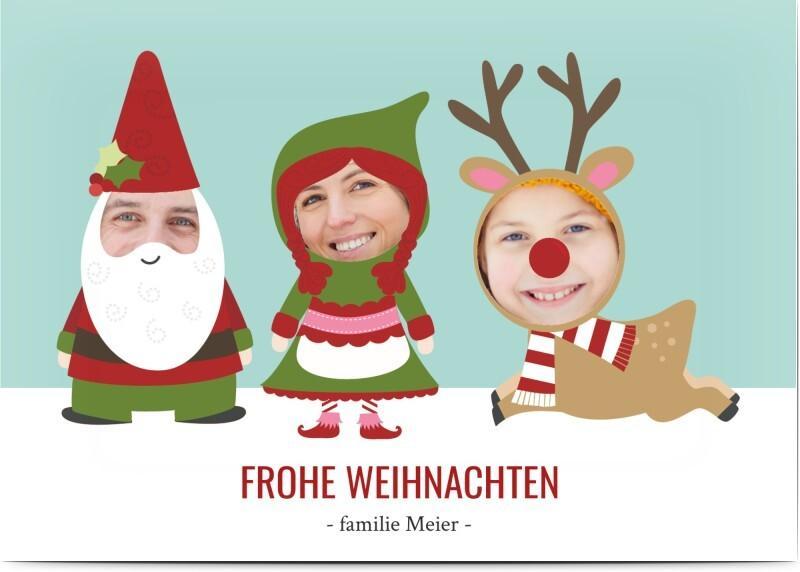 Lustige-Weihnachtskarte-Weihnachtsfiguren-im-Comic-Stil-Honeymoments.