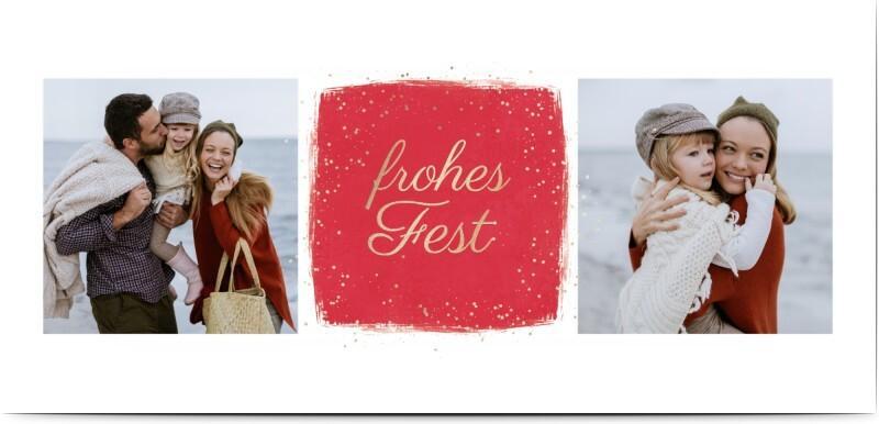 Weihnachtskarte Vorlage - weiße Karte mit Fotocollage - Honeymoments