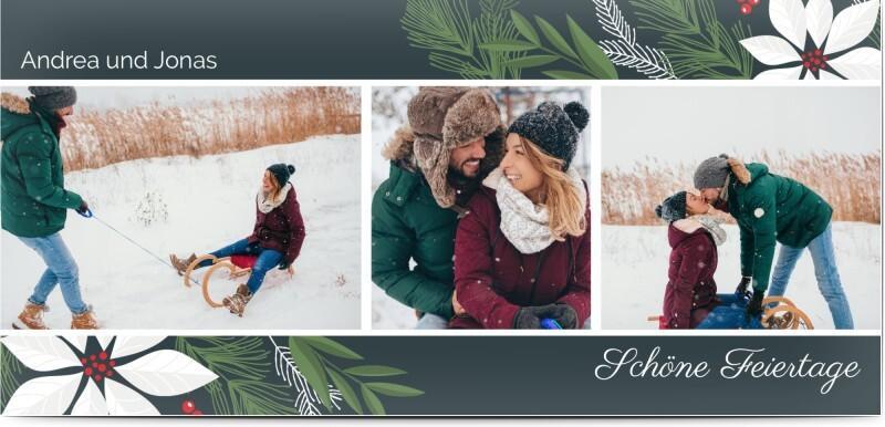 Weihnachtskarte mit Blumendesign und Fotos