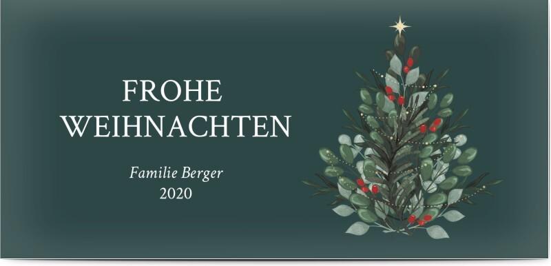 grüne Weihnachtskarte mit Tannenbaum