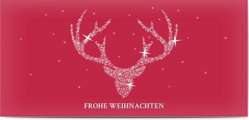 Weihnachtskarte Rentier - Rote Weihnachtskarte mit Rentiergeweih und Sternchen
