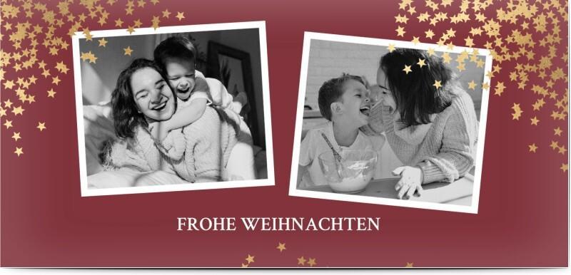 Weihnachtskarte mit Foto_ Dunkelrote Karte mit Sternen und Bildern von Honeymoments