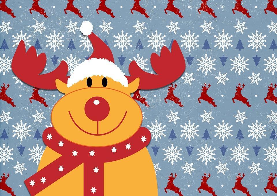Rentier auf Weihnachtskarte