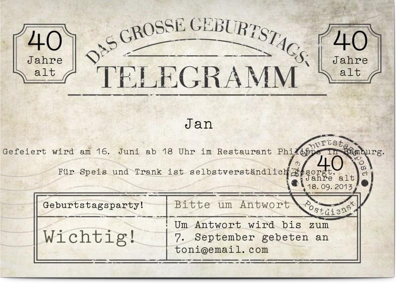 Einladung 40. Geburtstag: Telegramm