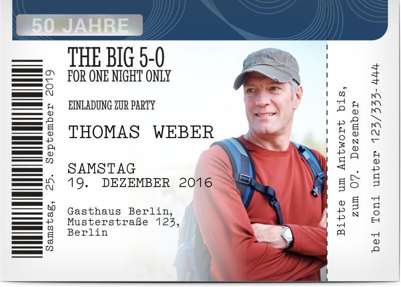 Einladung zum 50. Geburtstag mit Foto