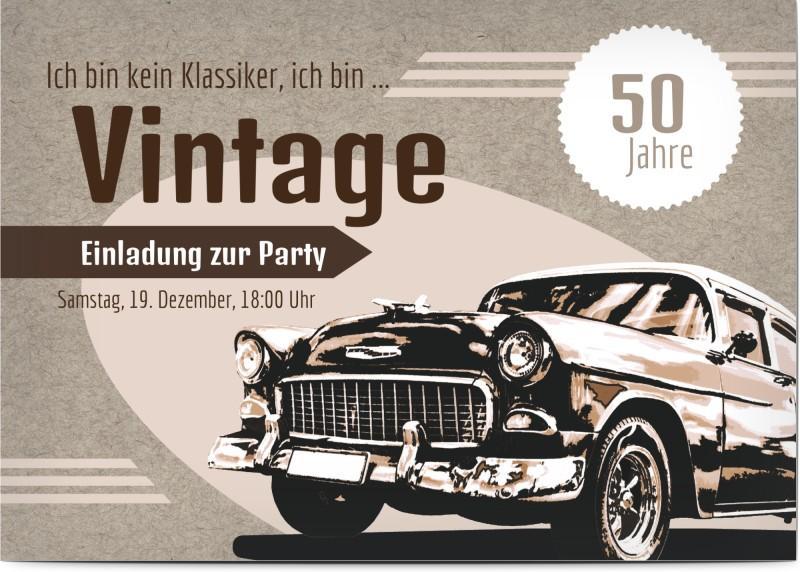 Einladungskarte zum 50. Geburtstag: Vintage