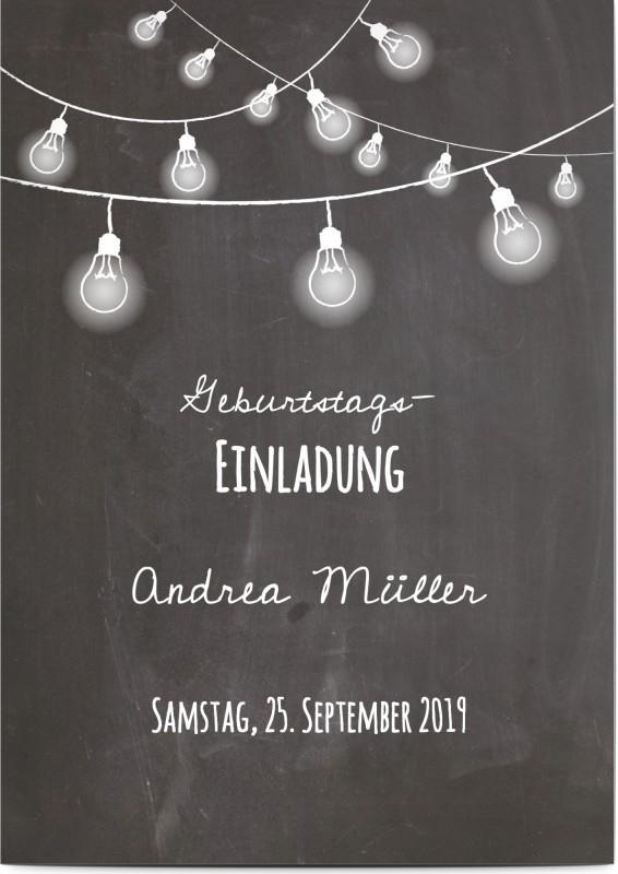 Einladungskarte zum 40. Geburtstag in Schiefer-Optik