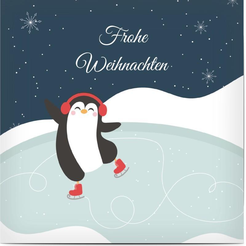 Weihnachtskarte für Kinder: Pinguin