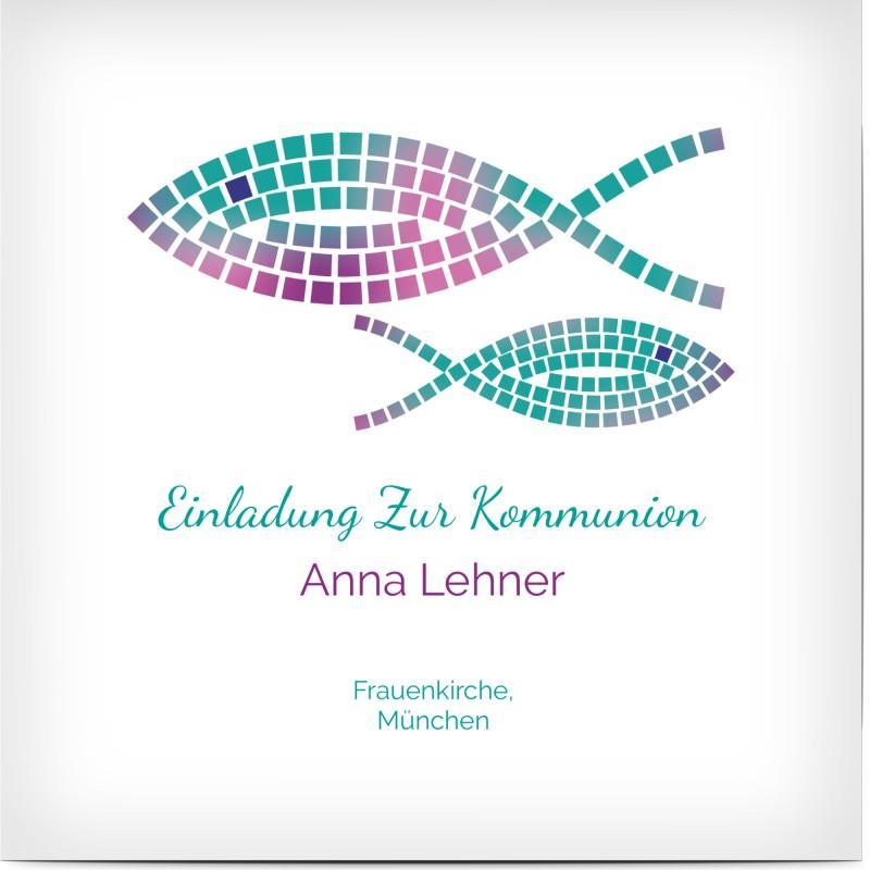 Einladungskarte zur Kommunion gestalten: mit Fisch