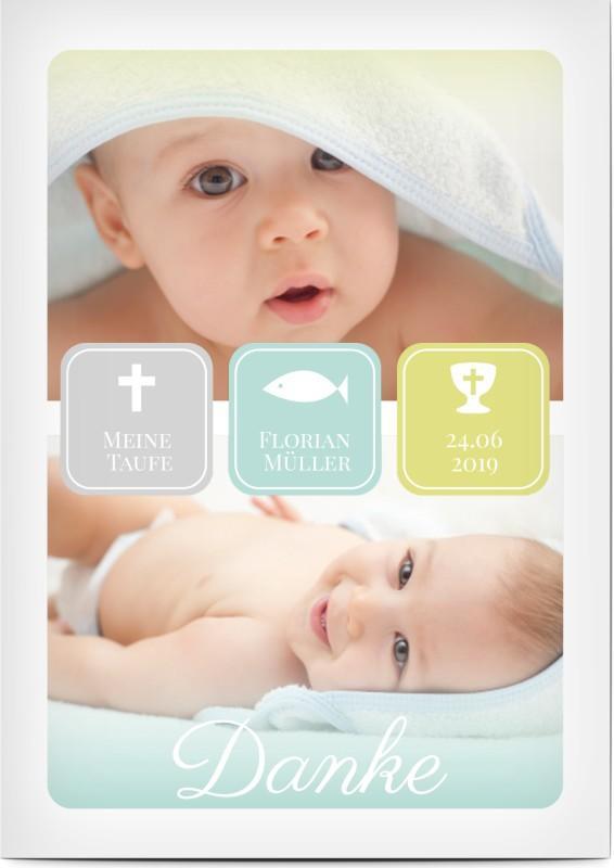 Taufkarte zum Danke sagen mit Bild