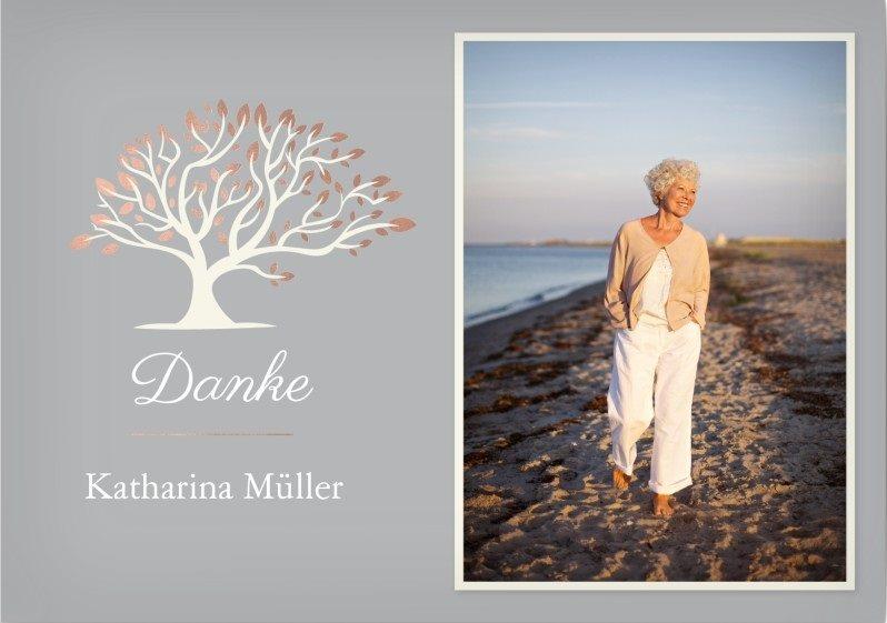 Danksagungskarte Trauer mit Baum und Foto
