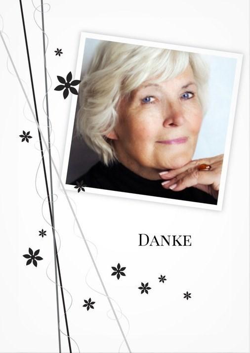 Modere Danksagungskarte Trauer mit Bild