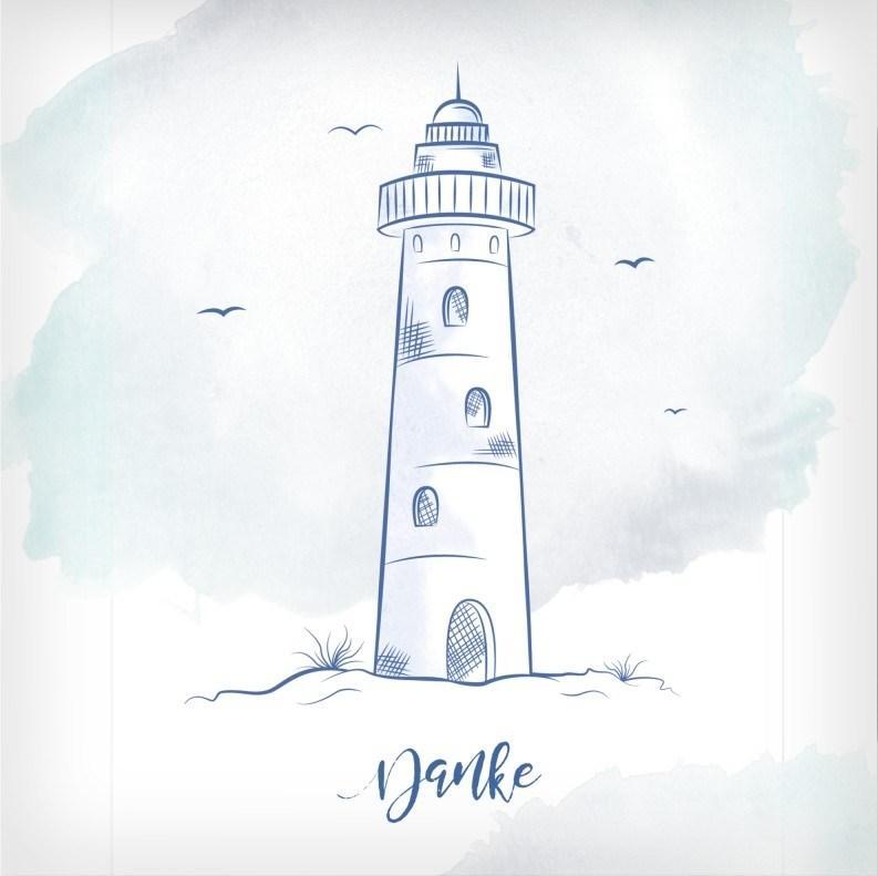 Trauerdankeskarte mit Leuchtturm