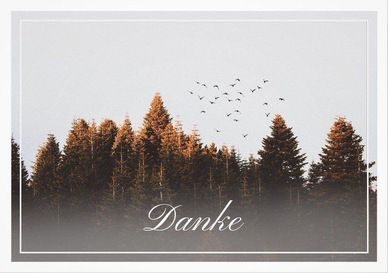 Trauerdanksagungskarte mit Wald