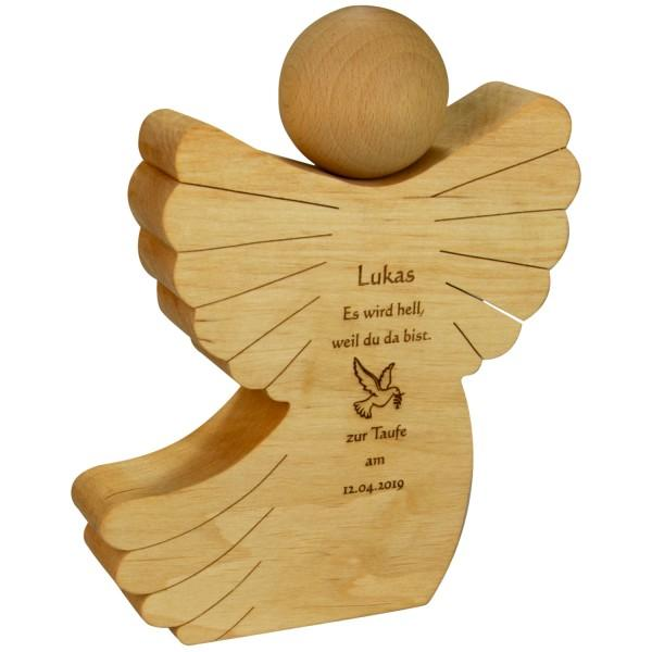Holz-Engel mit Gravur als Taufgeschenk von den Großeltern