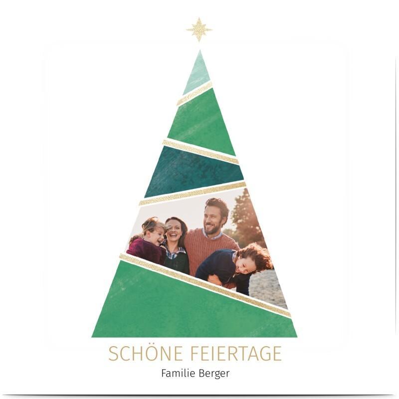 Tannenbaum Weihnachtskarte: Weihnachtskarten mit geometrischen Weihanchtsbaum