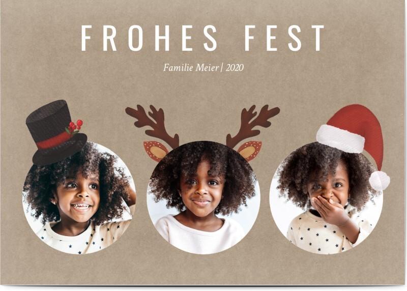 Weihnachtskarte Rentier - braune Karte mit Fotos und Kopfbedeckungen