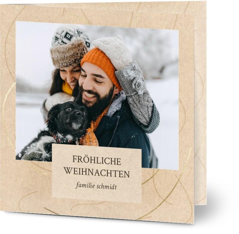 Weihnachtskarte mit Foto: schlichte beige Karte mit Foto