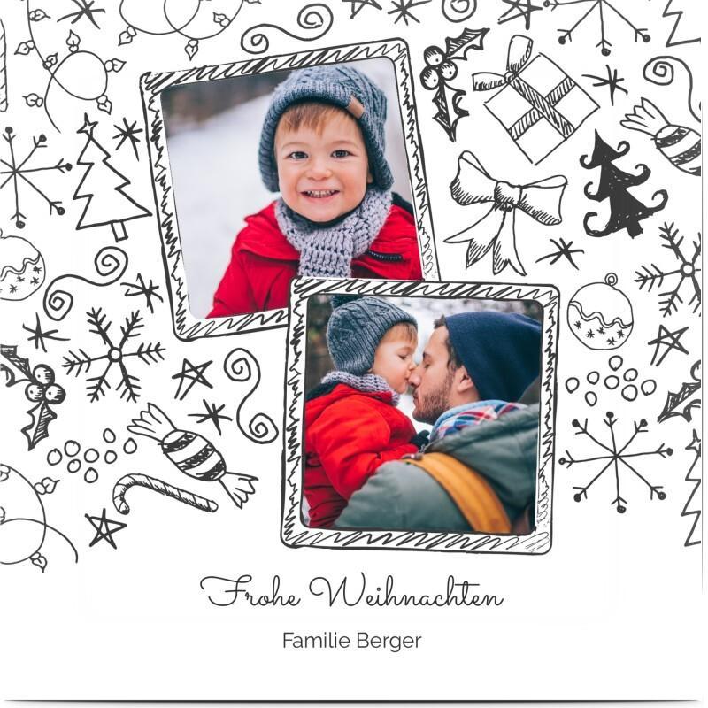 Weihnachtskarte mit Foto: Weiße Karte mit weihnachtlichen Illustrationen