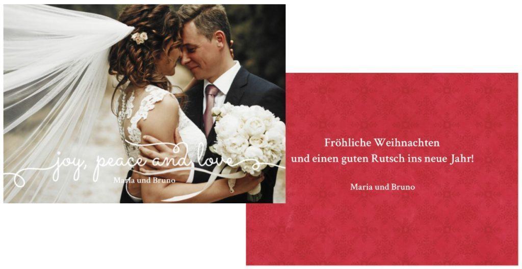Weihnachtskarte mit Hochzeitsfoto