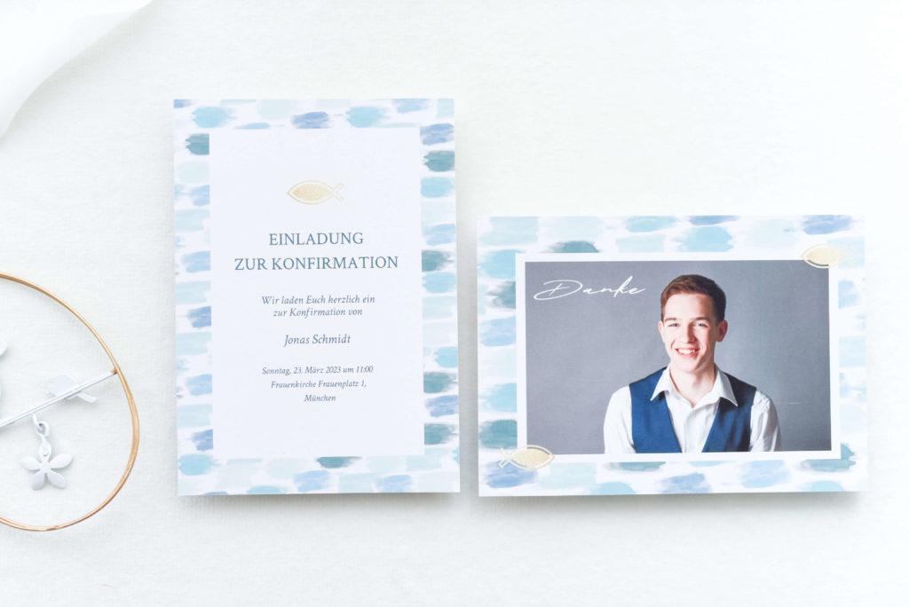 Einladungstext Konfirmation: Weiße Karten mit blauem Muster und Foto