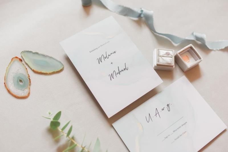Hochzeitseinladung Blush and Golden