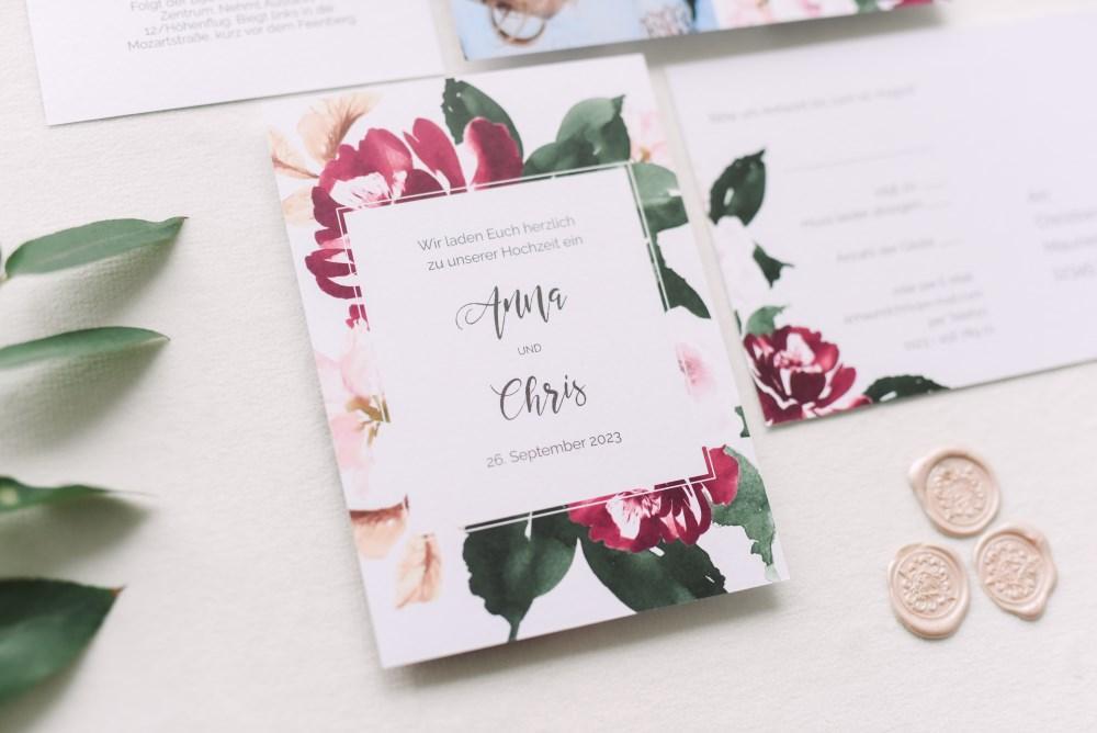 Hochzeitseinladung Text - Karte floral
