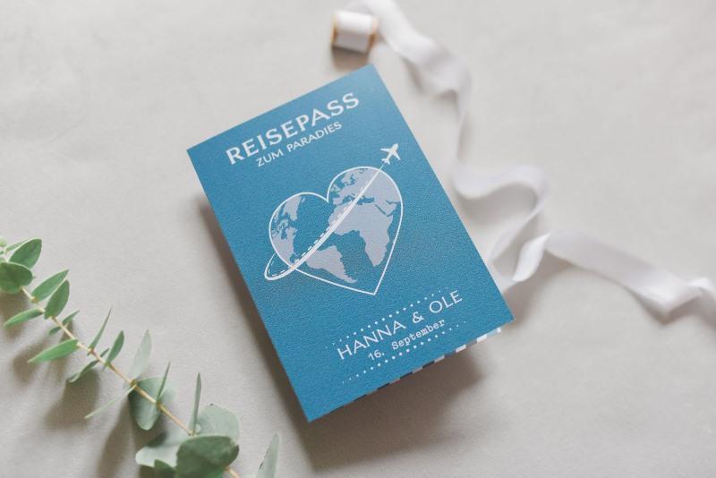 Hochzeitseinladungstexte - Einladungskarte Reisepass