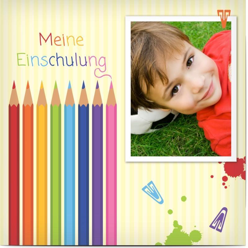 Einladung zur Einschulung mit Stiften