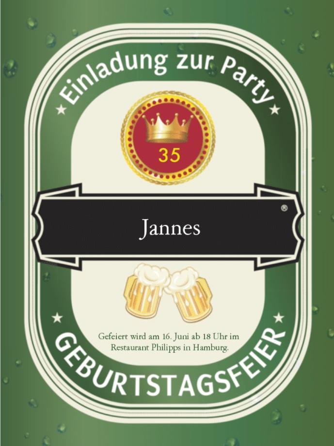 Einladung zum Geburtstag humorvoll Bier